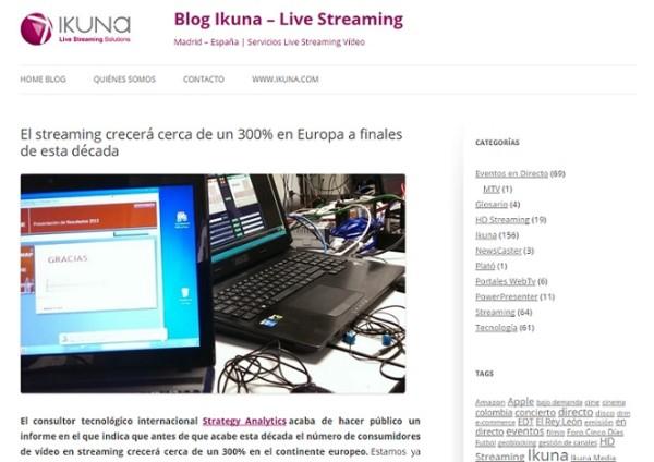 Todo el streaming, en el blog de Ikuna